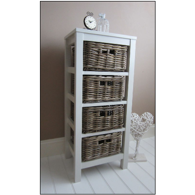 Tallboy Chest Of Drawers Wicker Baskets Storage Country Chic