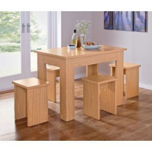 buy legia oak space saving dining table and 4 stools at argos.co