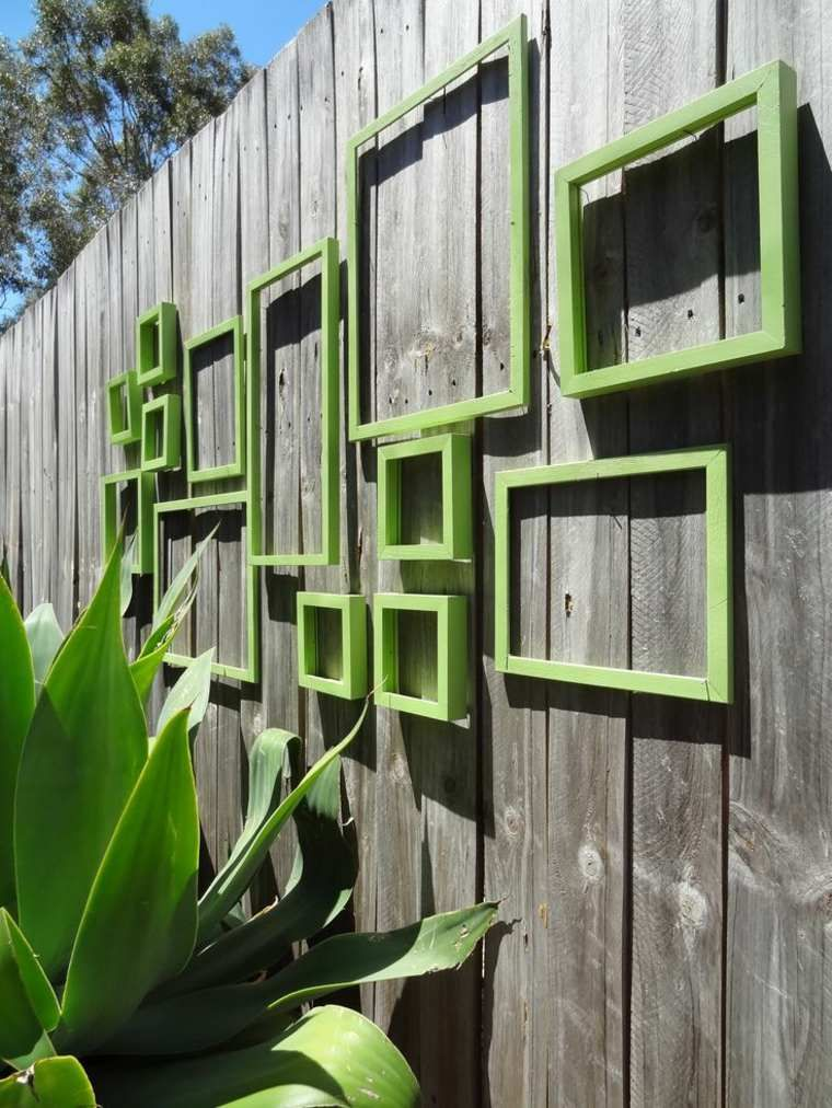 Artistic outdoor wall art in the patio naturally outdoor wall art design with green square decoration in wooden wall fence decoration for inspiration home