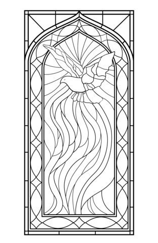 Stained Glass Window With Holy Spirit Coloring Page Coloring