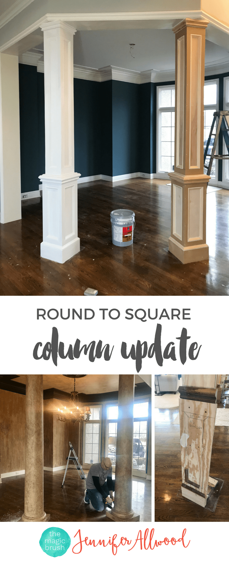Interior faux columns makeover jennifer allwood navy dining room how to update finish round square also we updated our decor pinterest rh