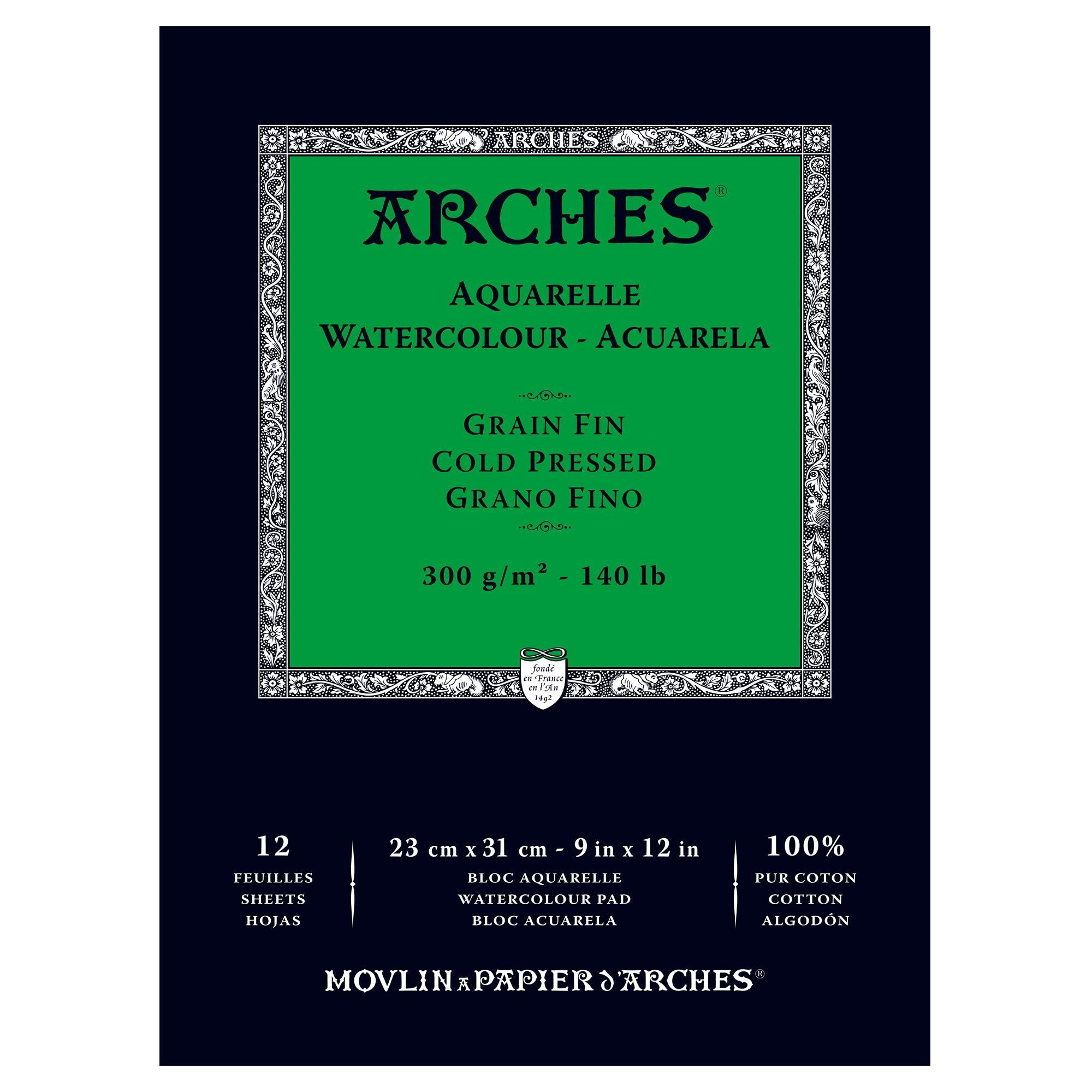 Arches Watercolor Paper Pad 140 Pound Cold Press 9 X12 Ad