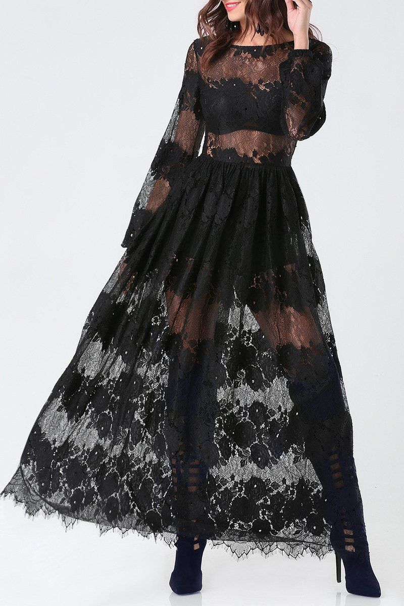 Super sexy seethrough long sleeves black lace maxi dress black