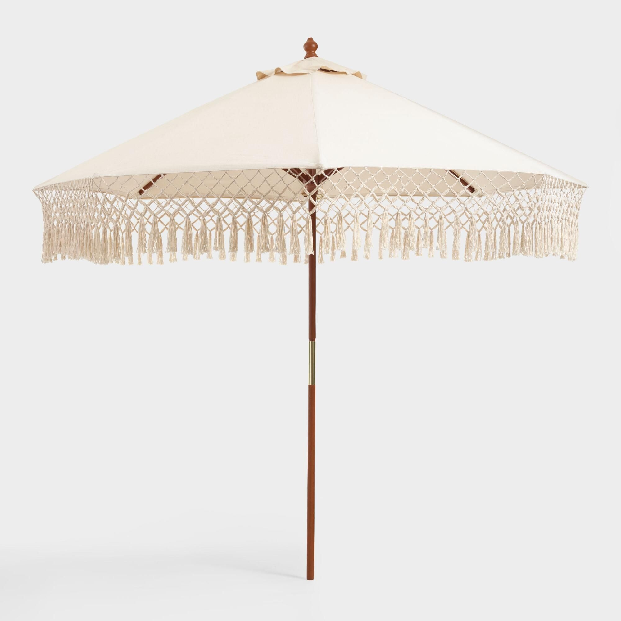 Natural 9 Ft Outdoor Patio Umbrella Canopy With Fringe By