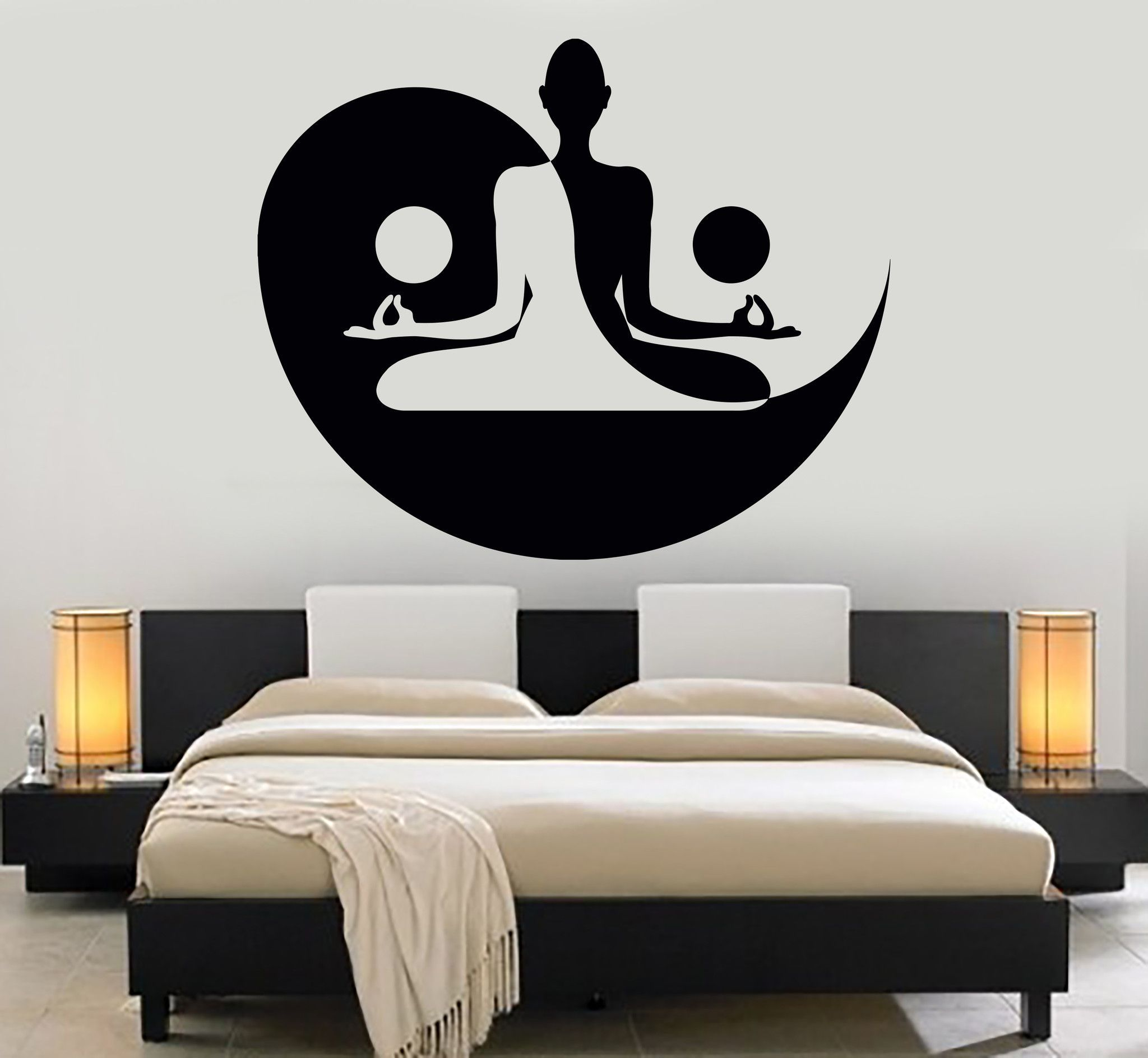 Vinyl Wall Decal Yin Yang Yoga Zen Meditation Bedroom Decor Stickers Mural Unique Gift (120ig