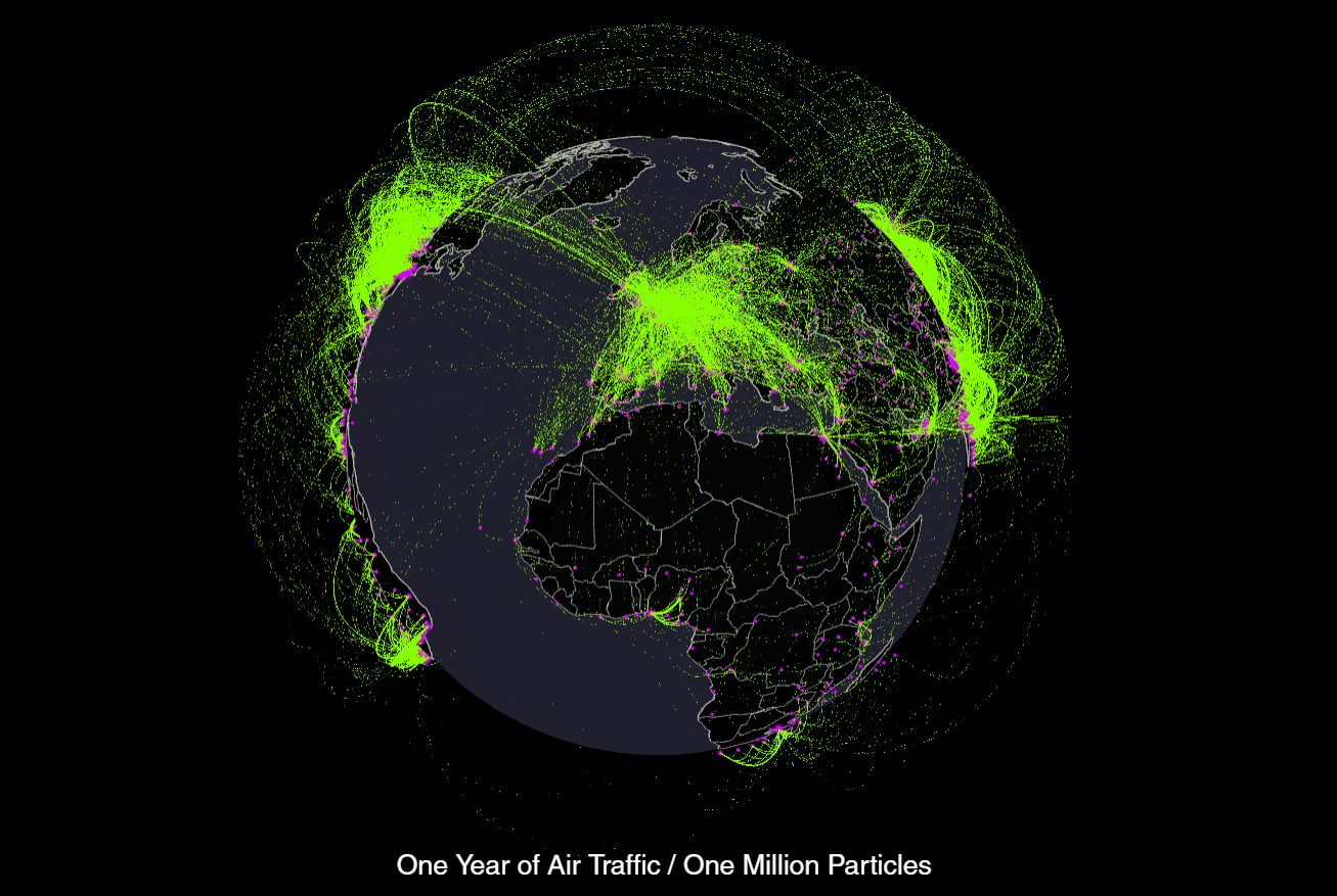 This 3d Globe Shows One Year Of Global Air Traffic Visualized As 1 4 Million Flowing Particles One For Every 1 000 Visualisation Data Visualization Traffic