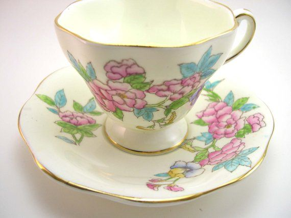 Antique Foley  Tea cup and saucer set, Yellow with Bouquet of flowers, Handpainted tea cup and sauce