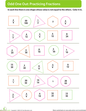 Practicing Fractions Odd Man Out Worksheet Education Com Fractions Math Fractions Math Workbook