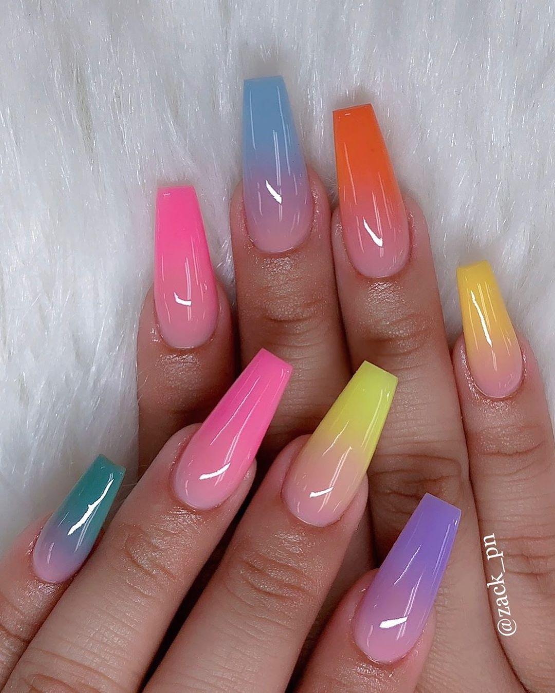 Zack Pn On Instagram Summer Rainbow Look Cute Nailpro