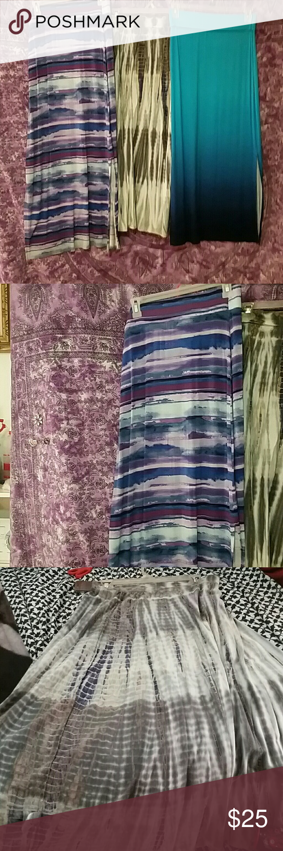 Long skirts! 3 skirts 2 are long and straight great condition and colors one tie die in worn condition wore with love Skirts Skirt Sets