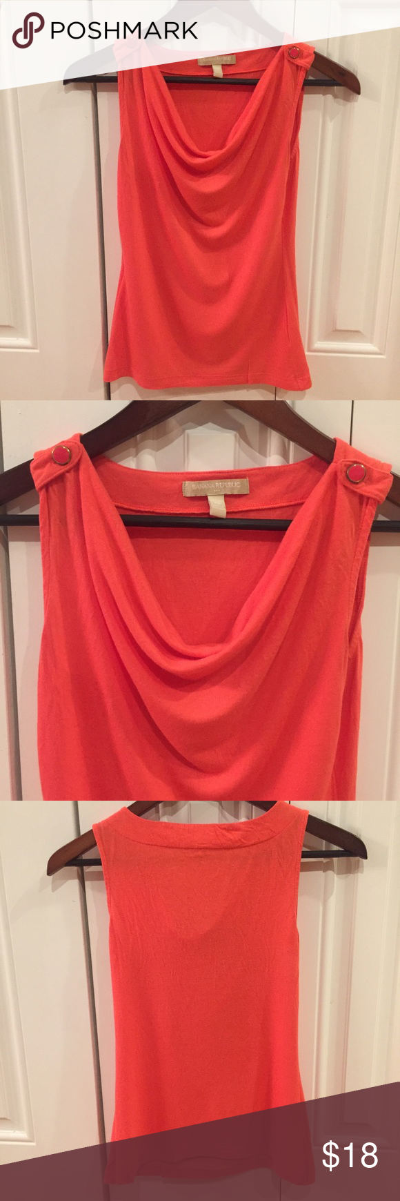 Coral Sleeveless Top Vibrant coral drape-neck top from Banana Republic. Pretty button detail on shoulders. Size XS Petite. Banana Republic Tops