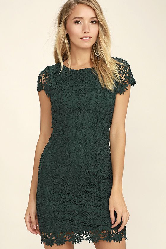 d60f42396a Hidden Talent Backless Forest Green Lace Dress in 2019
