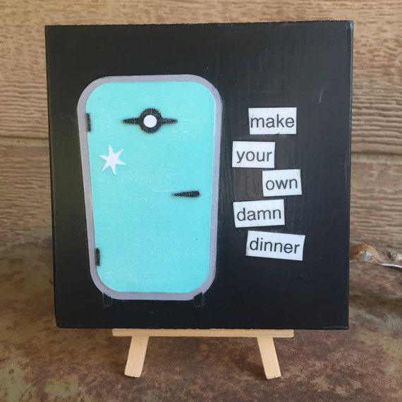 Make Your Own Dinner  Reclaimed wood retro by WellHungDesigns