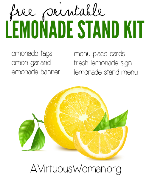 free printable lemonade stand kit 15 pages avirtuouswomanorg