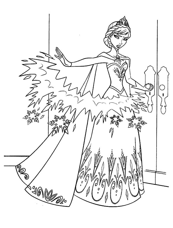 Queen Elsa Make Barrier From Ice Coloring Pages : Coloring ...
