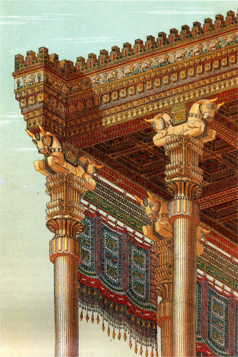 Achaemenids Persepolis A 1884 S Reconstruction Drawing Of The Apadana S Roof By Chipiez Persian Architecture Ancient Architecture Ancient Persian
