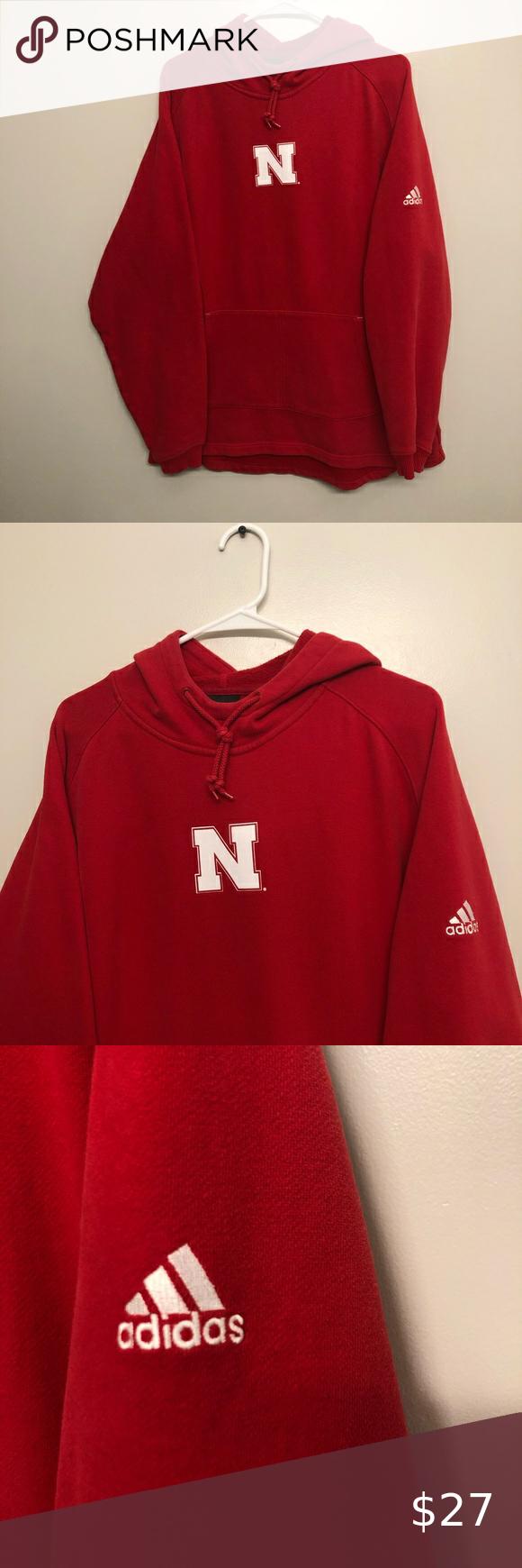 Adidas Nebraska Pullover Hoodie Red Medium Red Hoodie Pullover Hoodie Sweatshirt Shirt [ 1740 x 580 Pixel ]