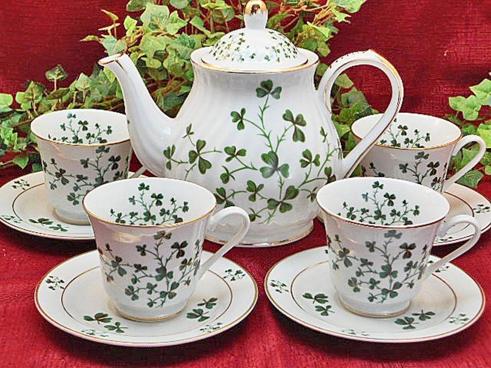Irish+Shamrock+Porcelain+Tea+Pot+and+4+Cups+and+Saucers