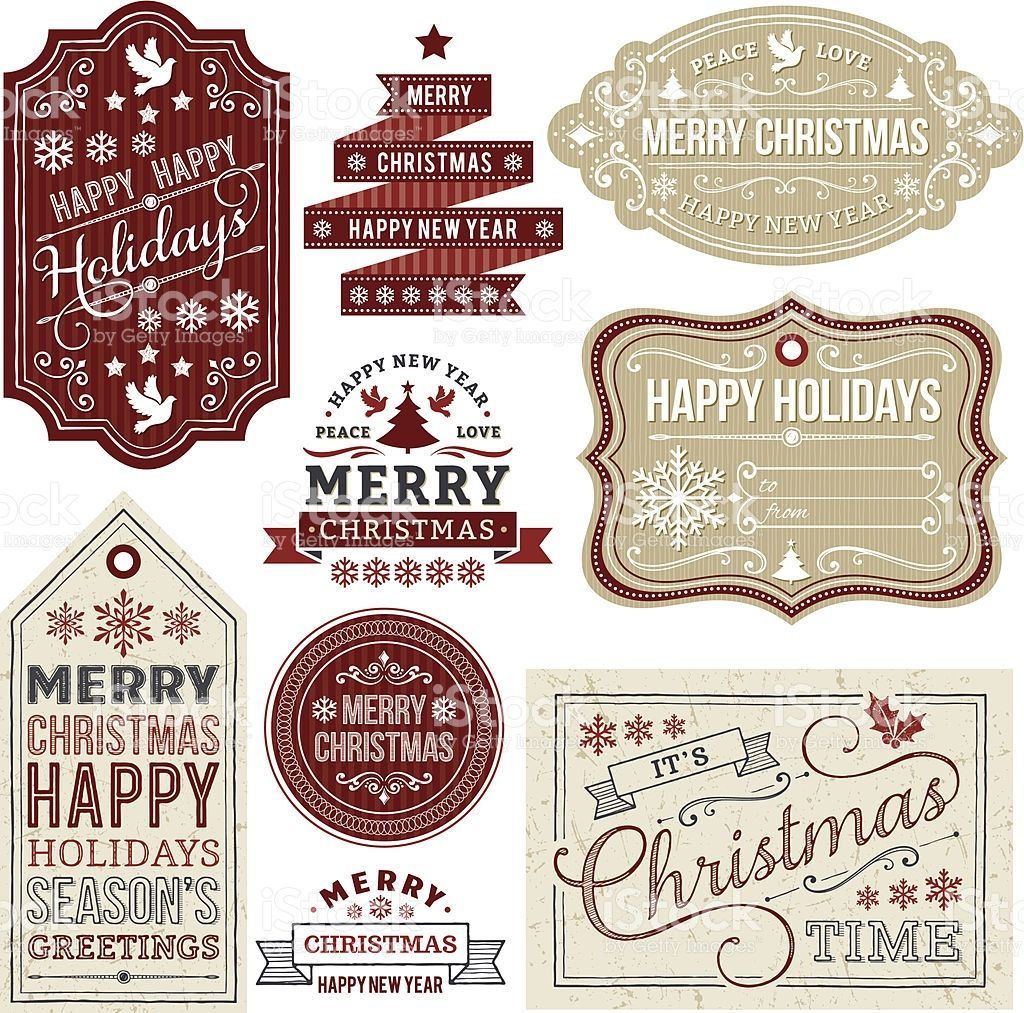 set of christmas labels frames and gift tags eps10 file contains