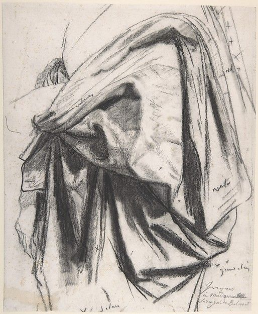 "Jean Auguste Dominique Ingres (1780–1867), Study for the Drapery of Molière in the ""Apotheosis of Homer"", Black chalk with stumping 