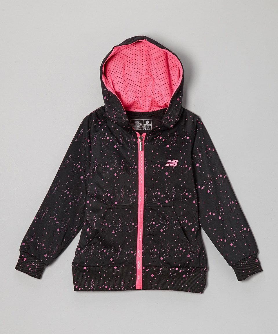 Another great find on #zulily! New Balance Black & Pink Dot Zip-Up Hoodie - Toddler & Girls by New Balance #zulilyfinds
