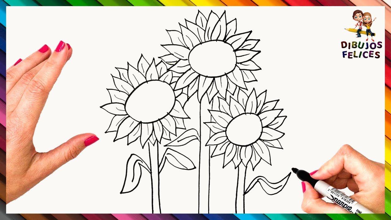 Como Dibujar Un Girasol Paso A Paso Dibujo Facil De Girasol Plantillas Para Dibujar Como Dibujar Tutorial De Dibujo