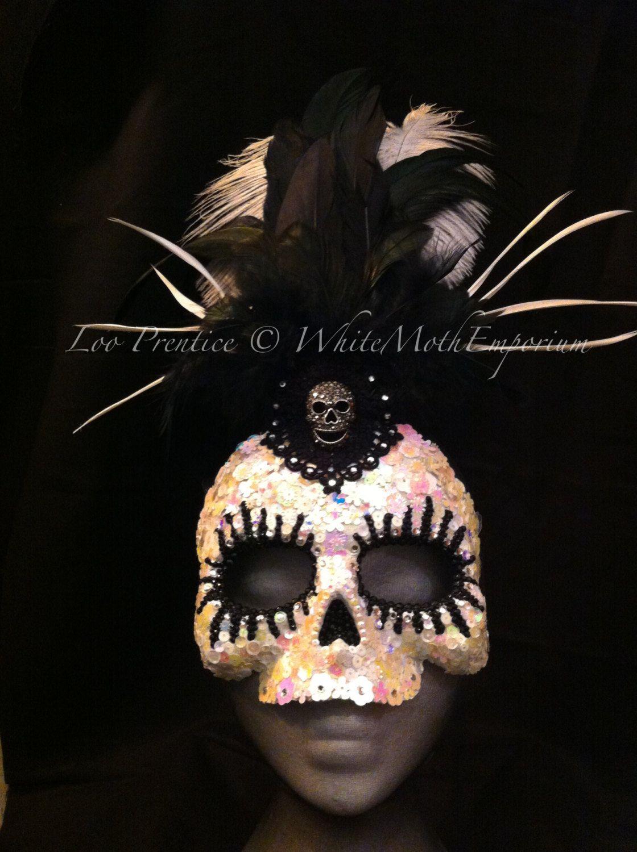 Skull Goddess Mask  day of the dead  by WhiteMothEmporium on Etsy, $150.00