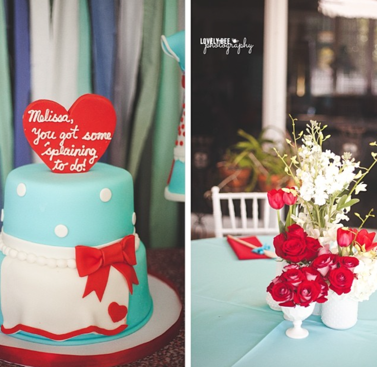 50's inspired Bridal ShowerFlorals and Decor by Avant