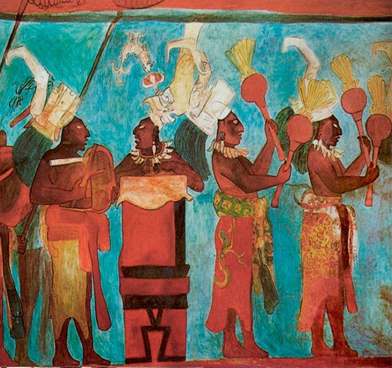 Musicos Del Mural Bonampak Cultura Maya Arte Precolombino Arte
