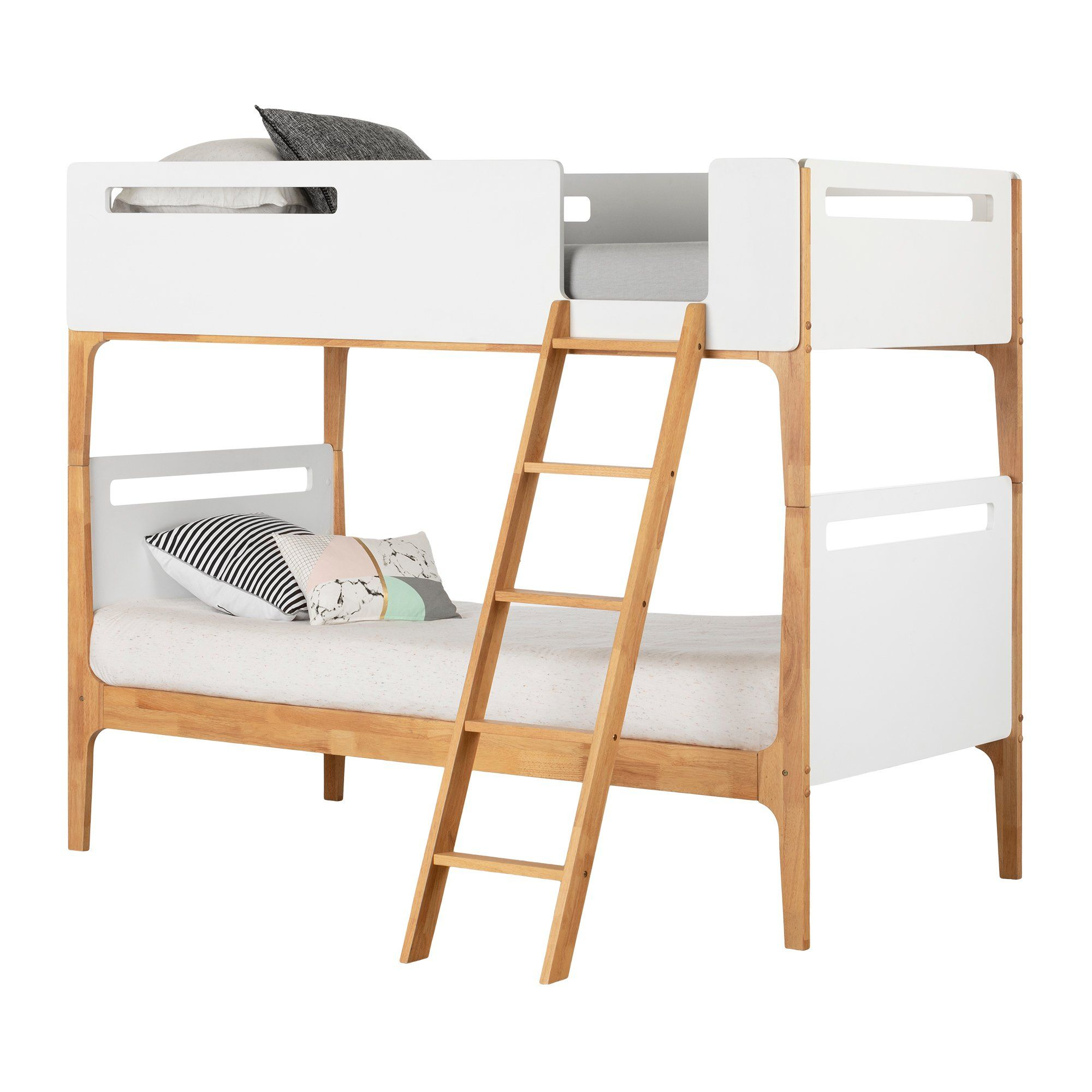 Modern White Twin Over Twin Bunk Bed Bebble In 2020 Modern