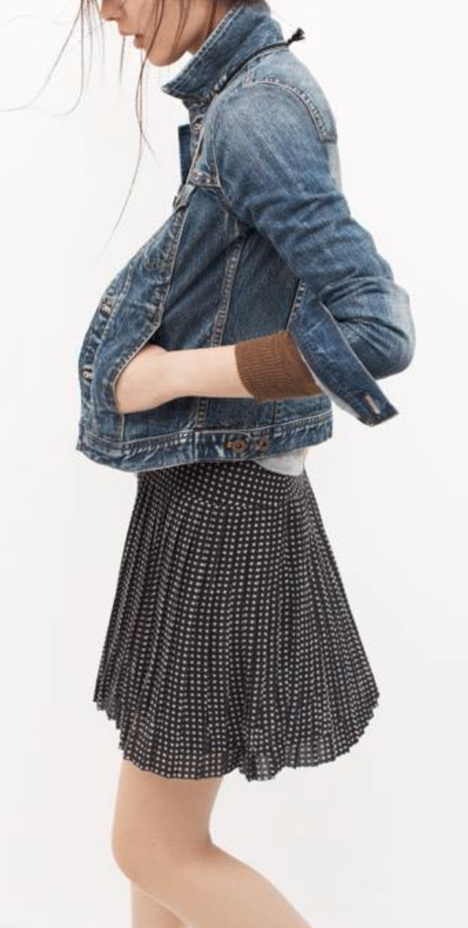 Polka dots and denim for an easy fall outfit