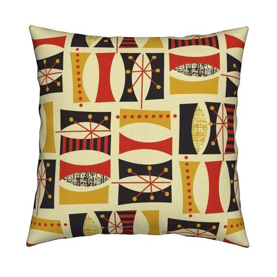 Mid Century Modern Throw Pillow Autumn Daze Yellow Red By