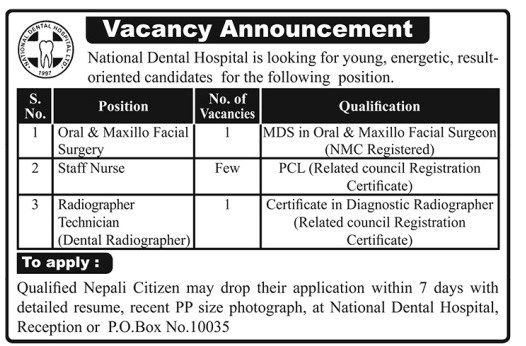 National dentla Hospital opens vacancy for doctor, staff