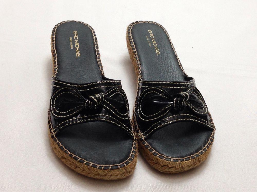 Eric Michael Women's Sandals Kitten Heel Black Patent