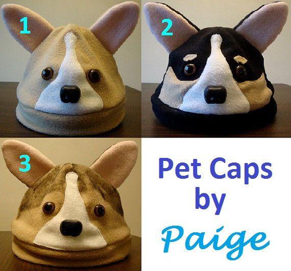 Fleece Welsh Corgi Hats van PetCaps op Etsy
