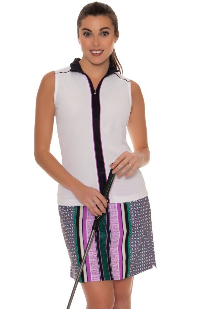 GOLF LOOK WITH VERTICAL COLOR BLOCKED SLEEVELESS GOLF POLO