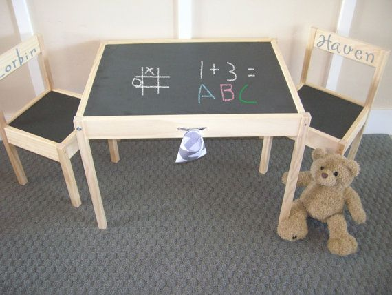 Wonderful Chalkboard Table And Chair Set. Coal Black By KidFusion On Etsy, $70.00