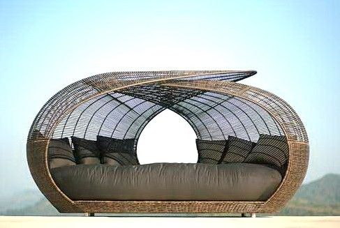 The Exquisite Side of Rattan - Architectural design transforms an outdoor day bed into a functional piece of art