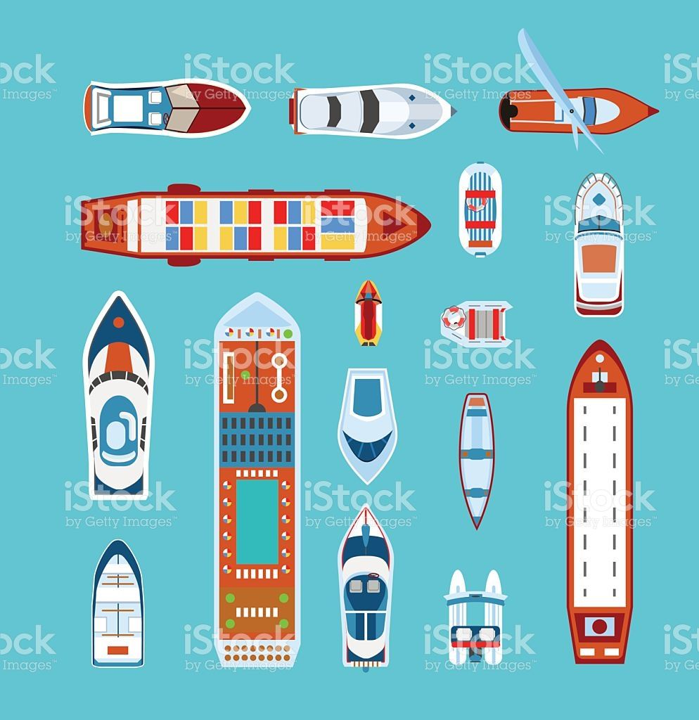 Various Ships And Boats Types On Water View From Above With Cruise