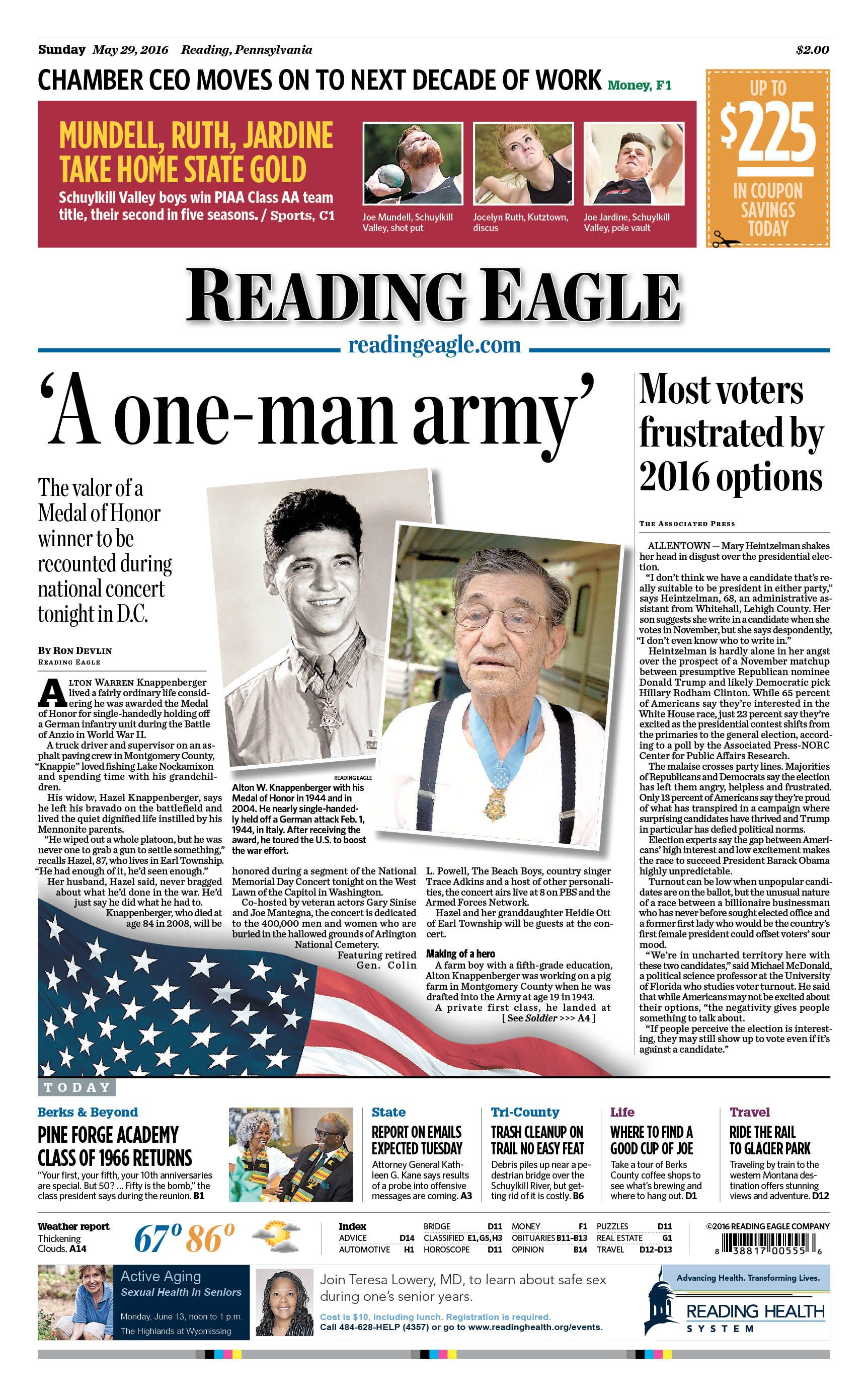 Today's front page, May 29, 2016