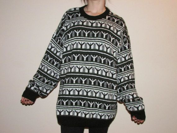 OVERSIZED VINTAGE SWEATER tumblr grunge green black white retro ...