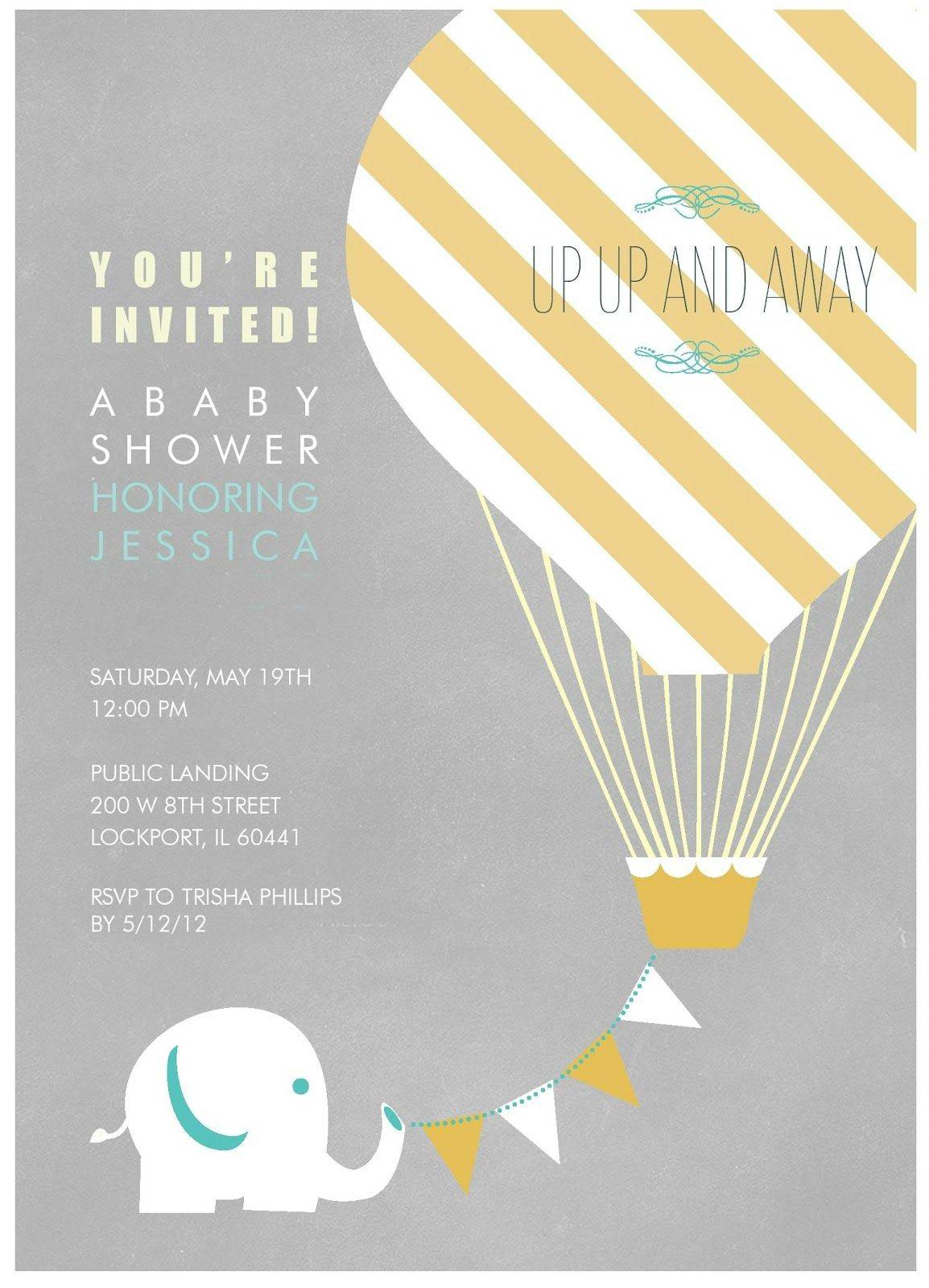 Elephant and hot air balloon for invite, except have elephant look ...