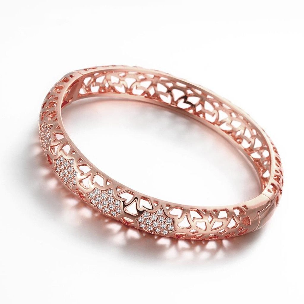 Gold Plated Bangle Bracelets for Women Rose Gold Cubic Zirconia Hollow Design
