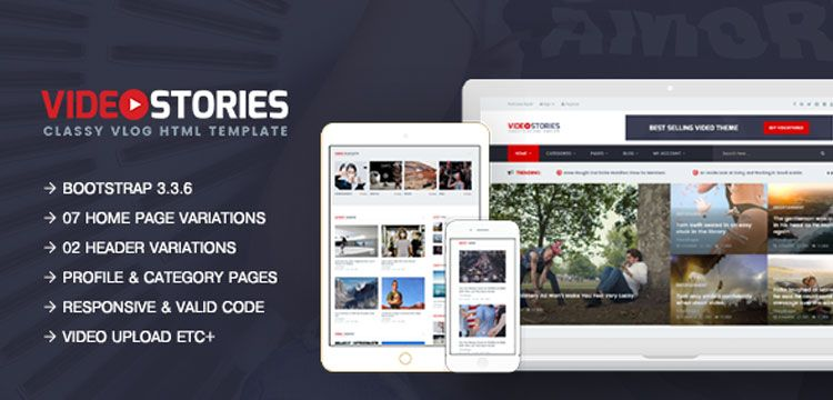 Videostories Best Video Blogging Html5 Template By Jeweltheme Html5 Templates Blog Websites Free Website Themes