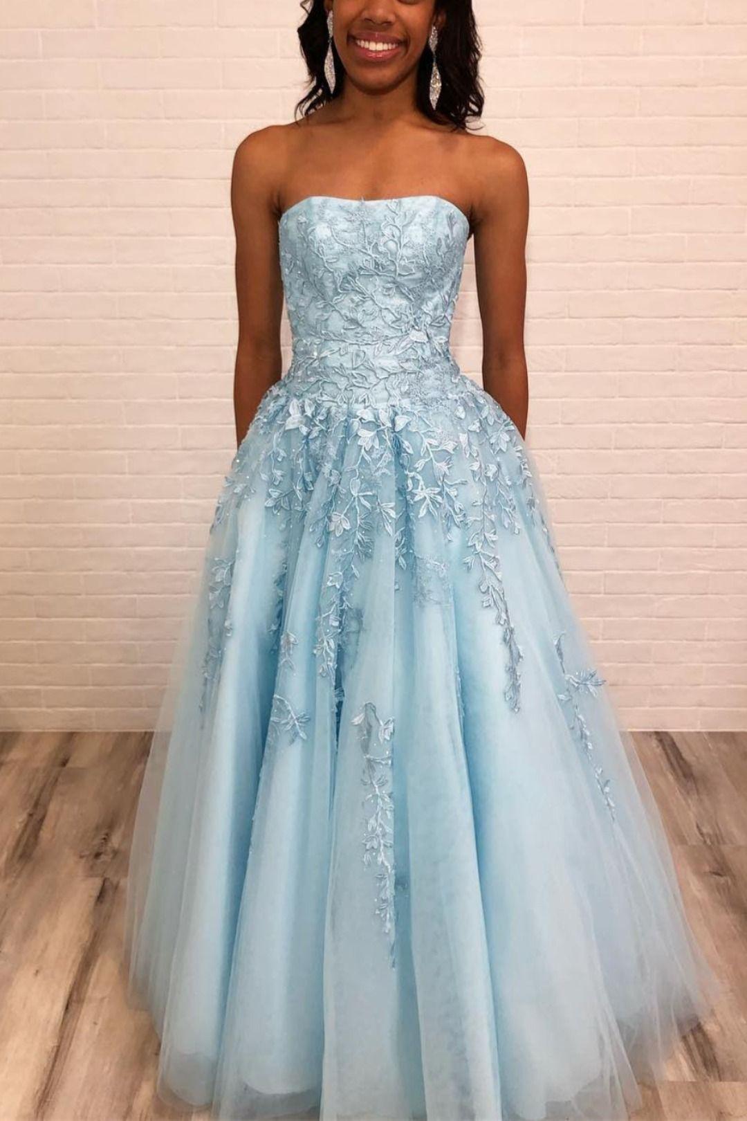 Elegant Strapless Light Sky Blue Long Prom Dress From Wendyhouse Strapless Prom Dresses Prom Dresses Lace Lace Formal Dress [ 1620 x 1080 Pixel ]