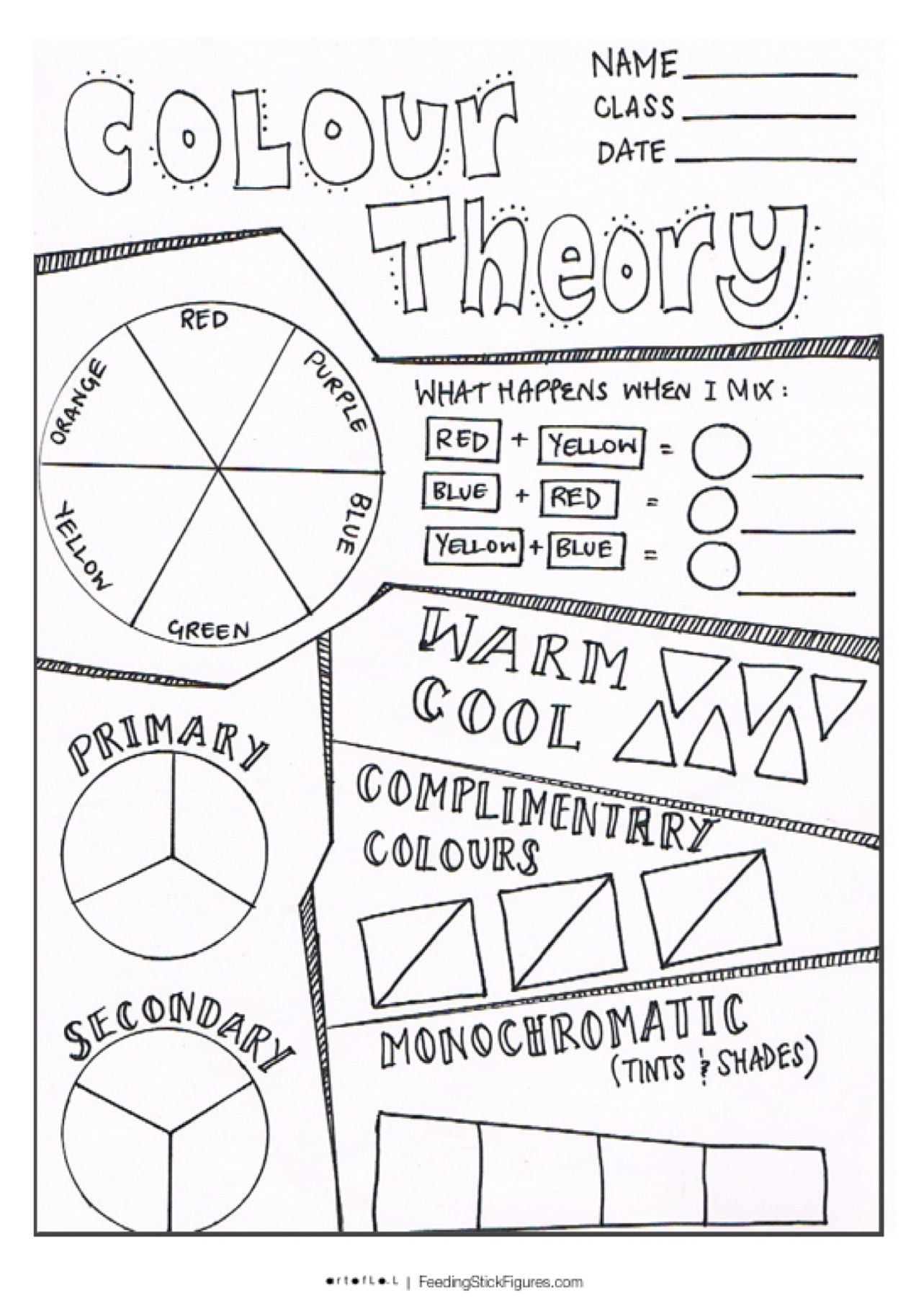 Teach Child How To Read Free Printable Color Theory Worksheet