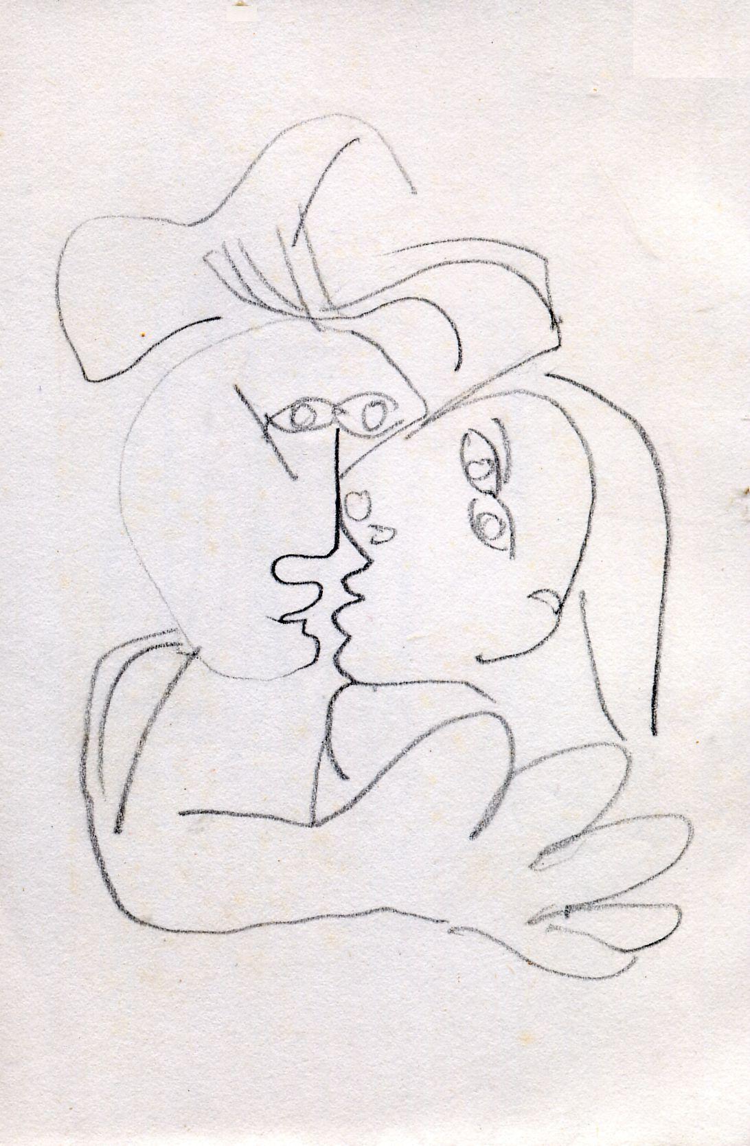 dessin ReChab d'après Picasso - le baiser