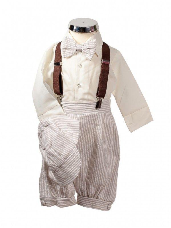 bimaro baby jungen babyanzug carl taufanzug set 5teilig anzug beige creme gestreift hemd fliege. Black Bedroom Furniture Sets. Home Design Ideas
