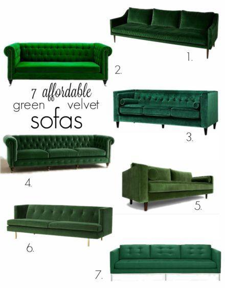 Affordable Green Velvet Sofas || Suburban B's - Green Velvet Sofas And The One Room Challenge Suburban B's Green