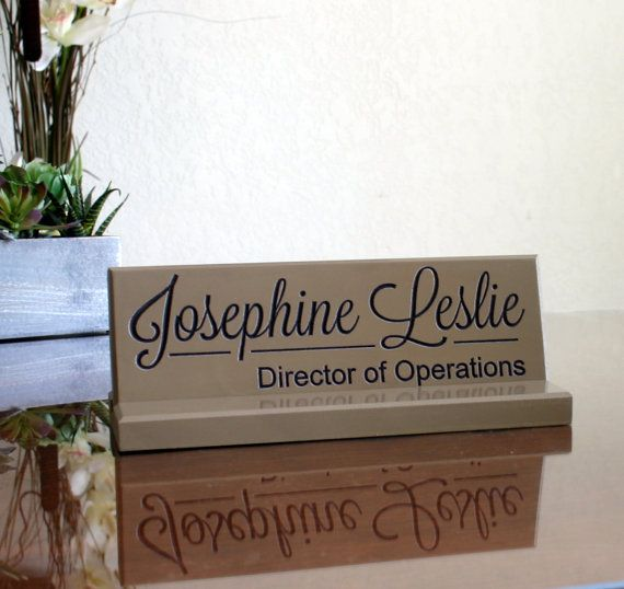 Desk Name Plate Sign Personalized Carved Office Professional Co Worker Gift Modern Trending